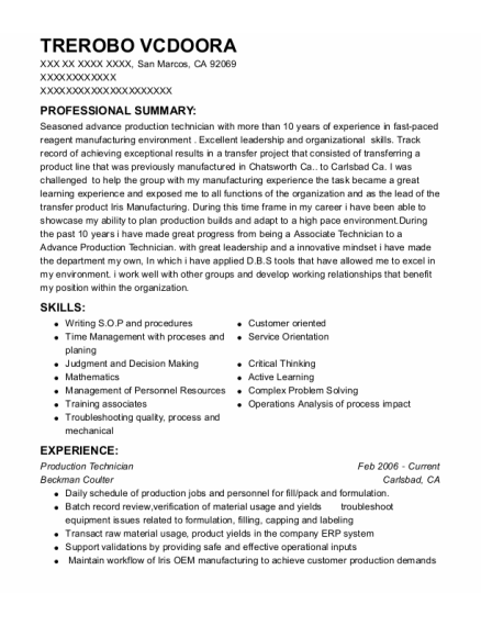 Production Technician resume format California