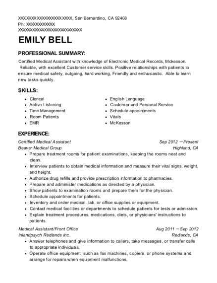 Certified Medical Assistant resume template California
