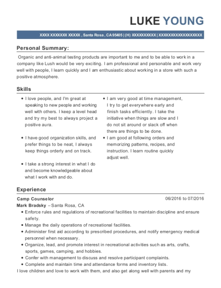 Camp Counselor resume template California