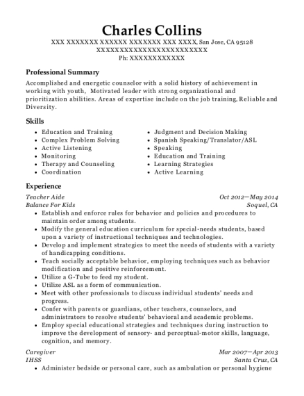 Teacher Aide resume example California