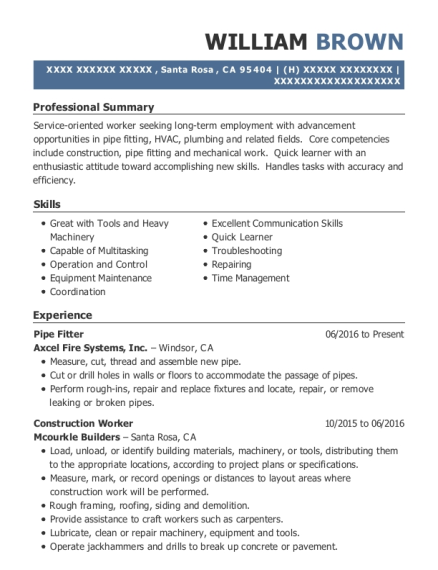 Pipe Fitter resume example California