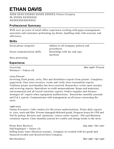 Walmart Invoice Resume Sample - Dodson Louisiana | ResumeHelp