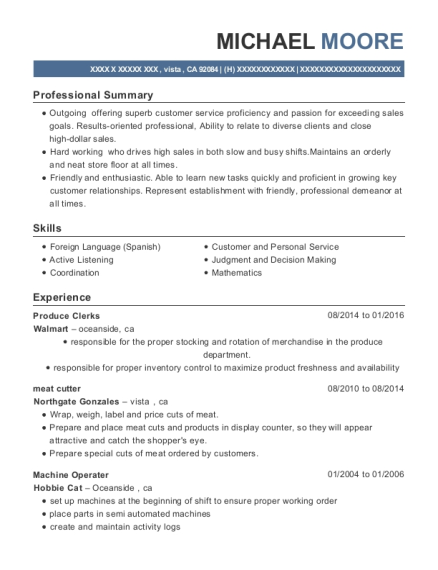 Produce Clerks resume template California