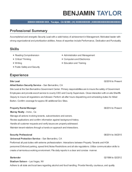 Site Lead resume sample California