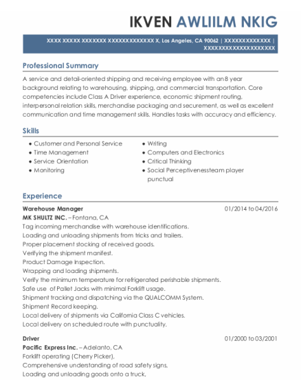 Warehouse Manager resume format California