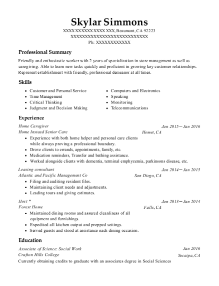 Home Caregiver resume format California