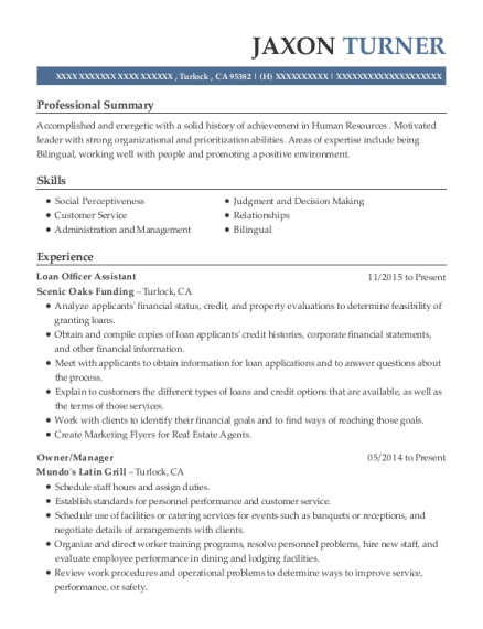 Loan Officer Assistant resume template California