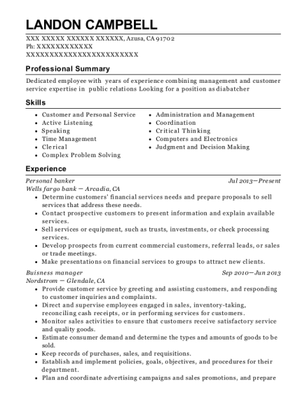 Personal Banker resume template California