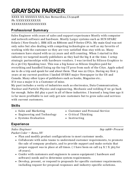 Sales Engineer resume sample California