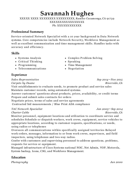 Sales Representative resume template California