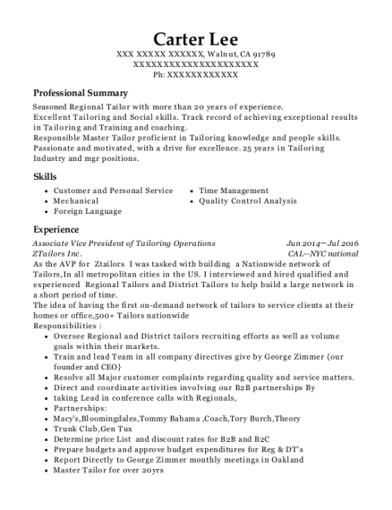 Associate Vice President of Tailoring Operations resume template California