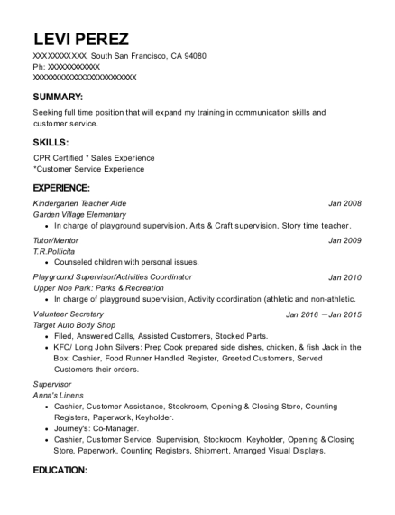 Kindergarten Teacher Aide resume sample California