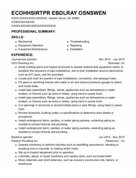Journeyman Plumber resume sample California