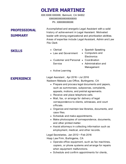Legal Assistant resume format California