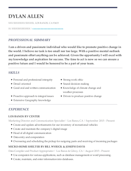 Marketing Director and Communication Specialist resume sample California