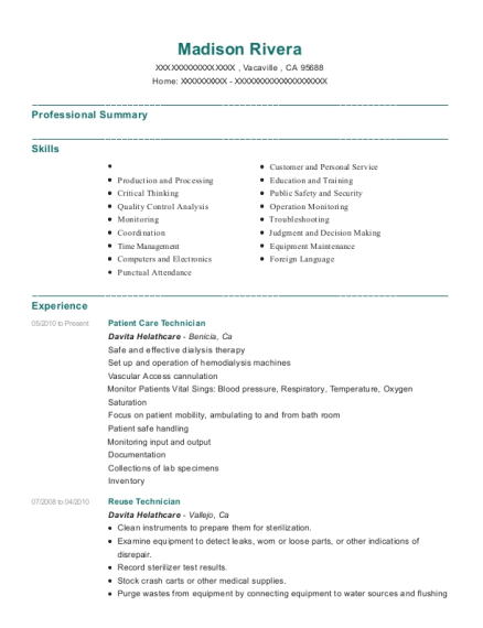 Patient Care Technician resume format California