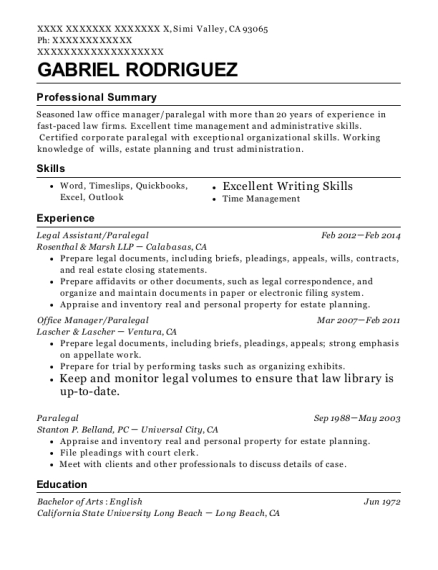 Legal Assistant resume sample California