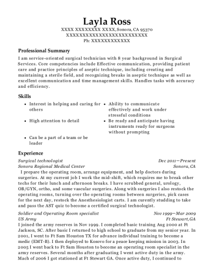 Surgical Technologist resume example California