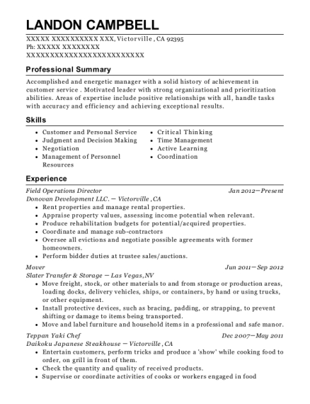 Field Operations Director resume example California