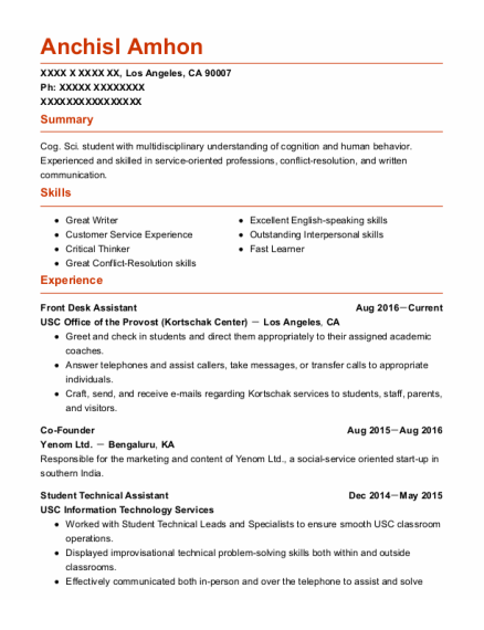 Front Desk Assistant resume template California