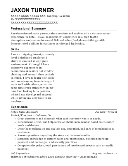 Retail Sales Associate resume sample California