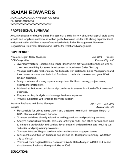 Western Region Sales Manager resume template California