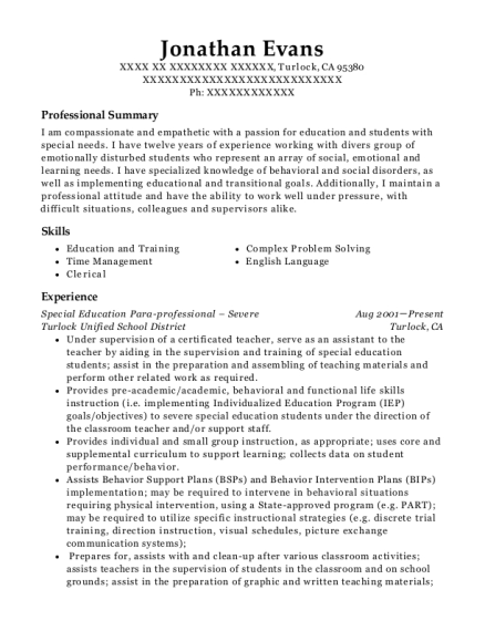 Special Education Para professional Severe resume sample California