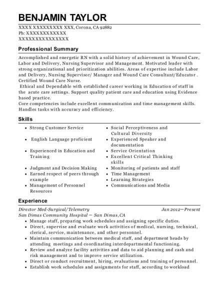Director Med Surgical resume example California