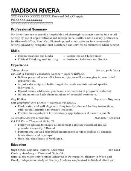 Telemarketer resume sample California