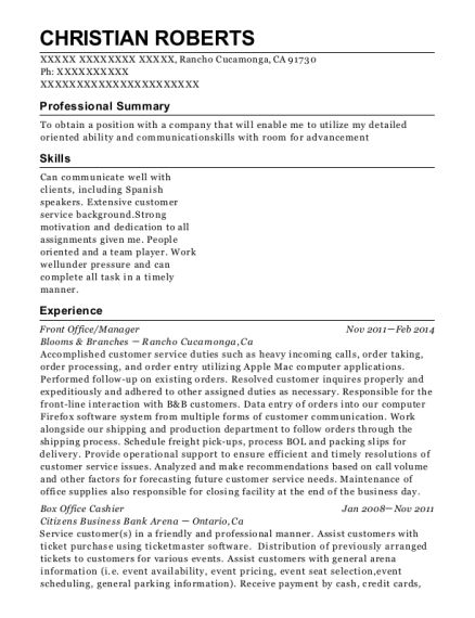 Front Office resume template California