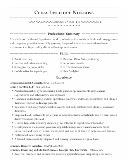 Graduate Research Assistant resume sample California