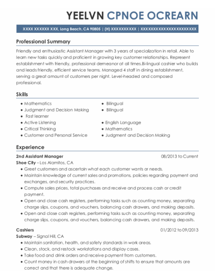 2Nd Assistant Manager resume template California
