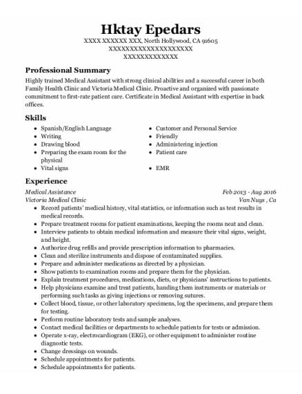 Medical Assistance resume format California