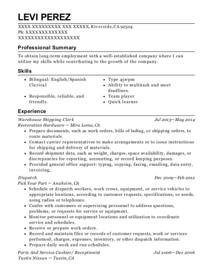 Warehouse Shipping Clerk resume sample California