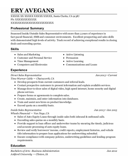 Direct Sales Representative resume example California