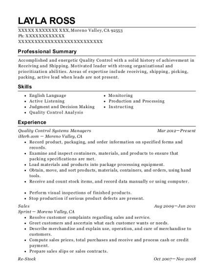 Quality Control Systems Managers resume format California
