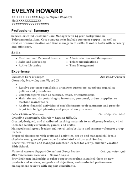 Customer Care Manager resume template California