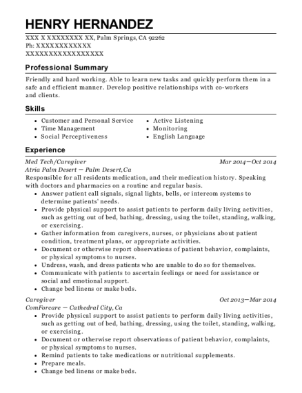Med Tech resume template California
