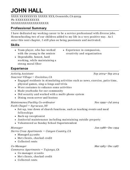 Activity Assistant resume template California