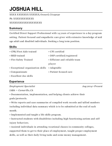 Employment Specialist resume format California