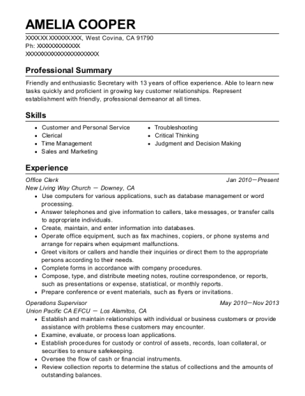 Office Clerk resume sample California
