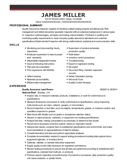 Quality Assurance Lead Person resume example California