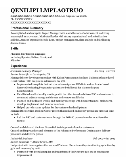 Industrial Engineer resume template California