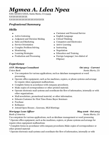 Mortgage Loan Officer resume sample California