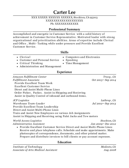 amazon fulfillment center fulfillment associate resume