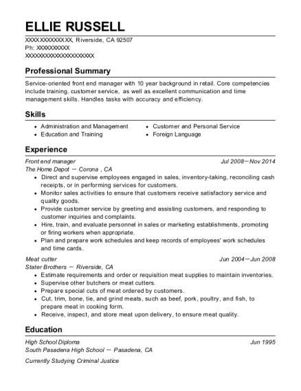 Front end manager resume example California