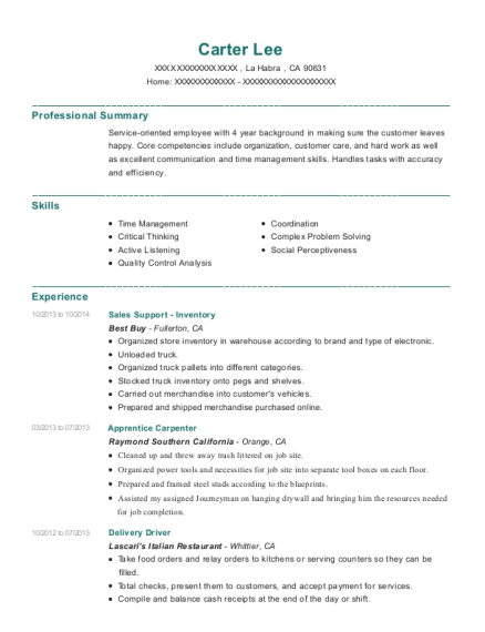 Sales Support Inventory resume format California