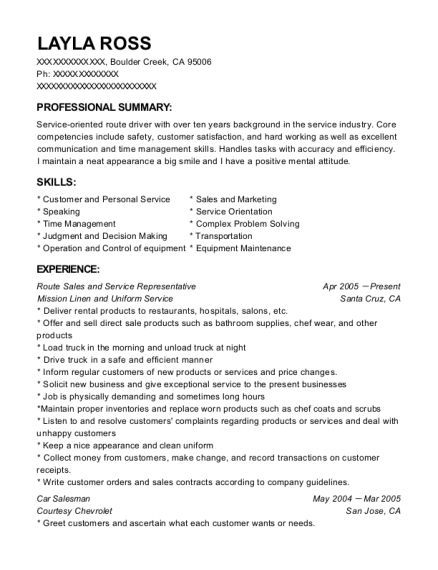 Route Sales and Service Representative resume sample California