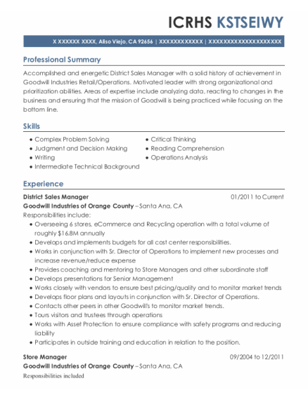 District Sales Manager resume example California