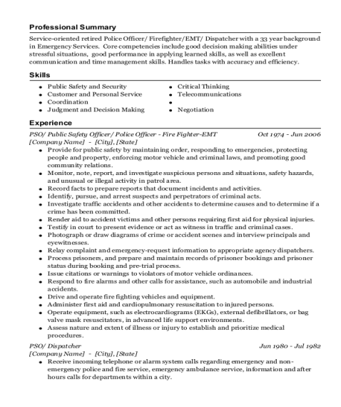 PSO resume sample California
